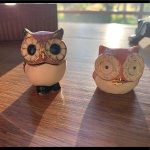 Enamel jeweled owl trinket box